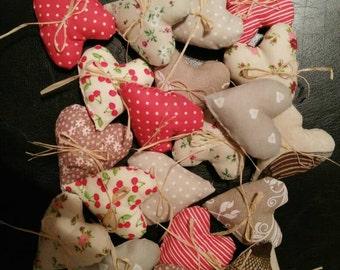 Free shipping, Set of 20 fabric hearts, heart ornaments, heart decor, spedizione gratuita, 20 cuoricini di stoffa, ornamento cuori
