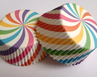 Multi Colored Cupcake Liners 50 count Rainbow Swirl