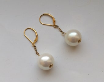 Genuine South Sea 14mm Pearl Pierced Earrings, Large White/Cream Pearl Earring, Gold Filled Leverback, Birthday Anniversary by enchantedbeas
