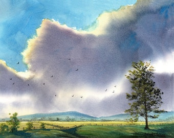 Tree Painting watercolor western cloudscape Landscape Print trees cloud billows field storm 11x14 Giclee