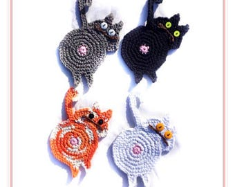 Cat butt coasters, peeping cat butt coasters, crochet set of four, black, grey, white, orange