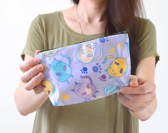 "Cat Print Zippered Cosmetic Bag, Make-up Bag, Toiletry Bag, Pouch - 8"" x 5.5"""