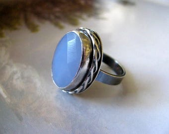 Sterling Silver Gemstone Ring, Blue Chalcedony Ring, Handmade Silver Jewelry, Blue Statement Ring Size 8.25