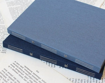 Blue Medium Size Long Stitch Bullet Journal Notebook with White Dotted Grid Pages and Hard Covers