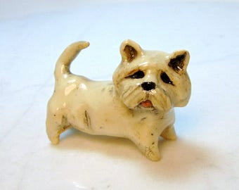 West Highland White Terrier Miniature - Westie Dog - Terrarium Miniature - Dog Figurine - Ceramic Figurine - Pottery Animal
