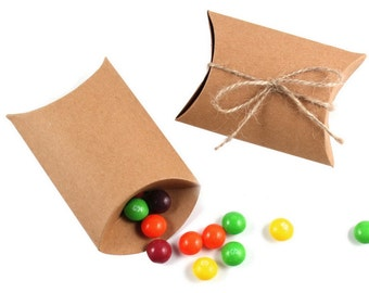 10 Small Kraft Pillow Boxes for Treats, Packaging & Gift Wrap . 3.5 x 3 x 1