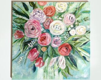 Original Painting. Flower Bouquet No.3. Acrylic on Canvas. Floral Painting. Flower Bouquet Painting. Size: 20x20 inch