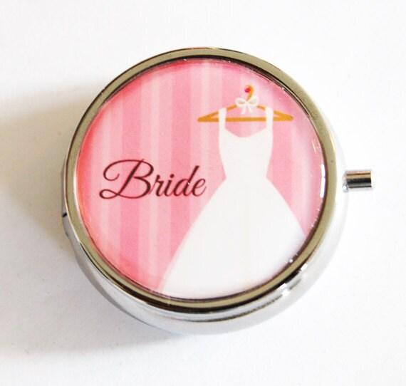 Bride Pill Case, Gift for bride, wedding shower, bridal, bridal shower gifts, pill box, gift for bride, pink (2136)