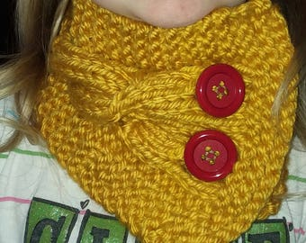 Knit Cable Neck Scarf Cowl Buttons