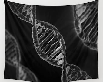 DNA Wall Tapestry, Black Wall Art , Science Art Tapestry, Modern Decor, Home, Dorm Tapestry, Dorm Wall Art, Outdoor, Black White, Office