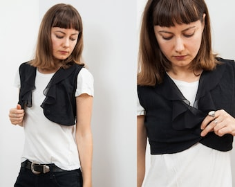 Vintage Black Ruffle Cropped Vest