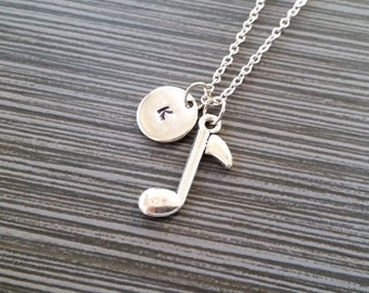 Silver Music Note Necklace - Charm Necklace - Personalized Necklace - Custom Initial Necklace - Music Lover Gift - Band Student Gift