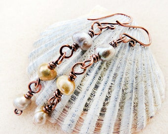 Long Pearl Earrings, Copper, Freshwater Pearls, Wire Wrapped, Neutral, Taupe, Gray, Handmade, Gift for Her, Gift for Teen, Gift for Woman