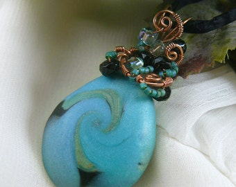Polymer Clay Pendant ~ Swirling Galaxy Pendant ~ Wire Wire Wrapped Polymer Clay Pendant ~Wire Wrapped Pendant ~ Handcrafted Bead Pendant