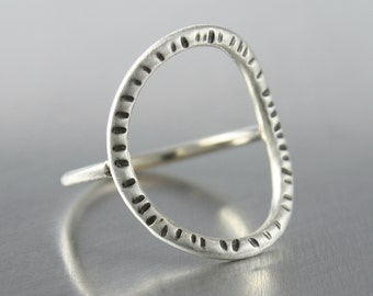 Patterned Circle Ring, Geometric Oval Design, Sterling Silver Jewelry