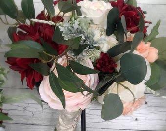 Boho, Rustic, Vintage, Wedding Bouquet - Burgundy, Pink, Coral and Cream Bouquet - Wedding Bouquet- Fall Bouquet - Winter Bouquet