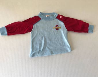 Vintage Garanimals 9 month long sleeve maroon and baby blue top