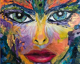 Pixie is an Original Acrylic Painting on Canvas Board by Deprise