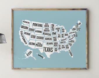 Printable Map of USA, Play Room Decor, Play Room Wall Art, Play Room Sign, Kids Room Decor, Kids Room Art, US Map, USA Map, United States