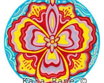 Cosmic Circle, TropiCali, Tropical, Flower, Hibiscus, Yoni, Divine Feminine, Goddess, Window Cling, Non-adhesive Vinyl sticker, EcoFriendly