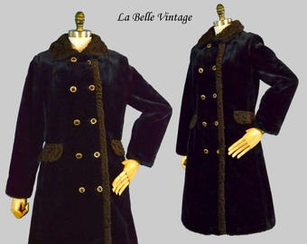 Mini Faux Fur Peacoat S Vintage Vegan Black Plush Coat