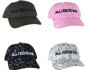 12a2f4ee6c6 4 Colors Custom All i do is win Paint Dot Unstructured Baseball Hat Dad Cap