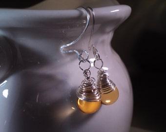 Sale Sterling Earrings Wrapped Citrine Gemstone Lemon Drop Wire Wrap Dangle Earrings //November Birthstone