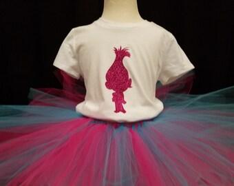 Girls tutu set Troll hot pink glitter blue 2T 3T 4T 4/5 6/6X custom Poppy Free name personalization birthday