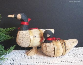 Vintage Handmade Wood and Straw Canada Goose Ornaments, Canadian Folk Art