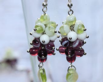 Purple White Green gradient Glass beads Earrings  Beaded Earrings Czech Glass beads Womens Jewelry Gift for Her