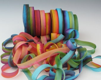 Hand Dyed Silk Ribbon , Silk Ribbon hand dyed, bias-cut 7/16 inch wide
