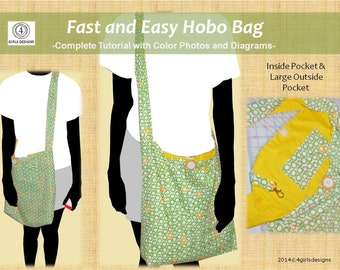 Instant Download Fast & Easy Hobo Bag PDF Sewing Tutorial with Color Photos and Diagrams, Step by step, Make it Yourself