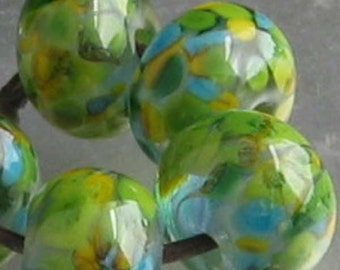 Louisiana Everglade Lampwork Spacer Handmade frit Glass Beads green yellow Turquoise 2-6 bead sets