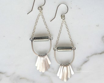 PETREA EARRINGS - Sterling Silver Fringe Earrings with Pyrite and Hammered Details