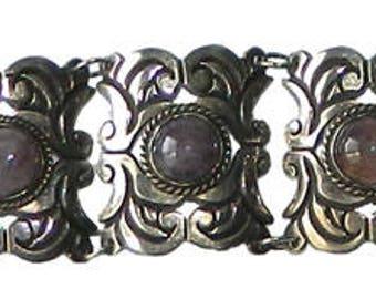 Vintage 1930's Mexican Sterling Silver Amethyst Bracelet