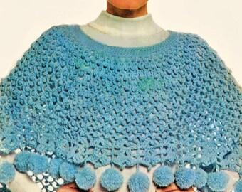 Poncho Crochet Pattern, Crochet Poncho Pattern with Pompoms, Wrap or Shawl Crochet Pattern, INSTANT Download Pattern PDF (1601)