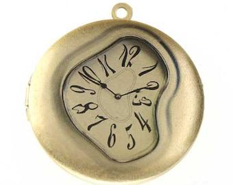 Photo Locket, Image Locket, Art Locket, Picture Locket, Brass Locket - SALVADORE DALI - Melting Clock