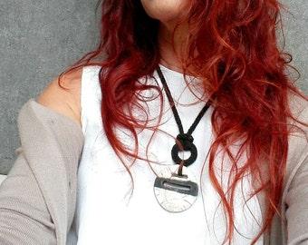 Unique ceramic necklace / Black and white ceramic pendant / Geometric necklace / Modern necklace / Ceramic jewelry by Aliquid / Modern