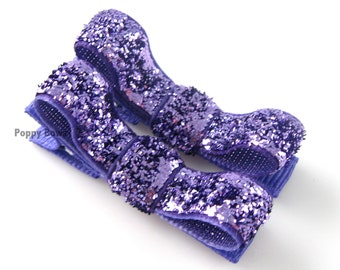 Glitter Hair Clips in Purple - Toddler Hair Clips - Baby Hair Clips - No Slip Grip for Fine Hair Tuxedo Bow
