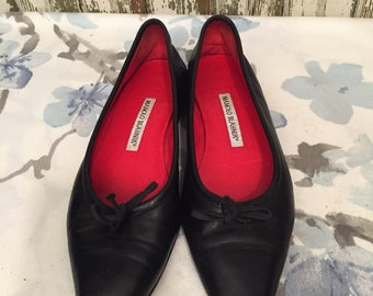 Vintage Slip On Black Leather Manolo Blahnik size 9