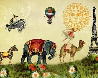 Childrens Art, Whimsical Art, Kids Room Art, Childrens Prints, Eiffel Tower, Elephant Decor, Camel Print, Dancer Gifts, Zebra Print