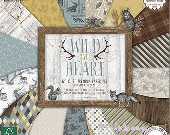 """Printed paper 30.5 X 30.5 cm, """"Wild At Heart"""" collection, background papers, 16 leaves"""