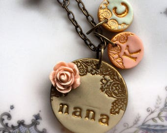 Mother's Day - Grandma Necklace - with THREE additional letter medallions