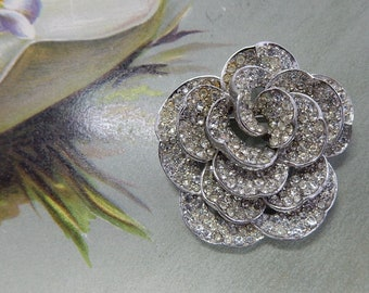 BOUCHER Signed Silver & Rhinestone Rose or Camelia Flower Brooch    PAN3