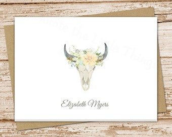 bull skull personalized note cards . floral desert skull notecards . watercolor bull skull stationery . folded stationary . set of 8