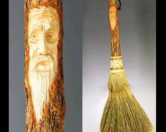Hand Carved Fireplace Broom in choice of Natural, Black, Rust or Mixed Broomcorn, with Tree Spirit Wizard Carving - Hearth Broom
