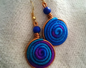 Vortex Yarn earrings - Royal Blue and Violet