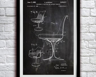 Saarinen Chair 1960 - Dining Room Decor - Patent Print Poster Wall Decor - 0098