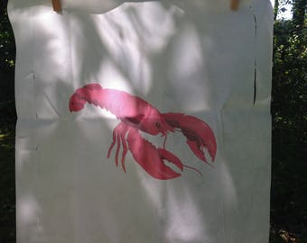 Lobster Bibs clambakes, lobster bake beach parties linen like polyester fabric Set of four
