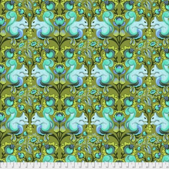 "FQ SQUIRREL Fern Green Tula Pink  pwtp028.fernx 18"" x 22"" Multiples cut as one length"